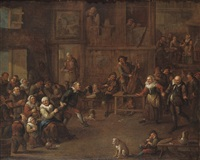 a peasant feast in a barn interior by egbert van heemskerck