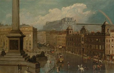 trafalgar square after a shower with a view towards northumberland house and the strand a rainbow beyond by leonidas clint miles