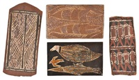 traditional design, eight fish, fish and birds and two sharks (4 works) by groote eylandt