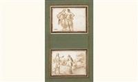 deux femmes se tenant par la main (+ scène d'histoire ancienne; 2 works) by francesco (da gubbio) allegrini