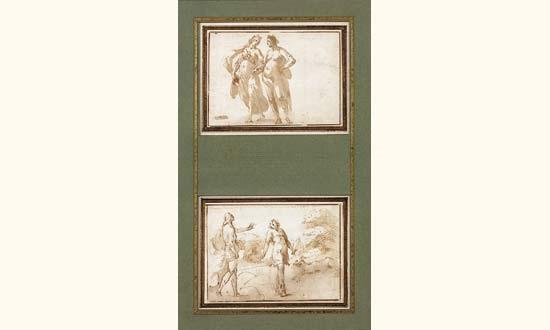 deux femmes se tenant par la main scène dhistoire ancienne 2 works by francesco da gubbio allegrini
