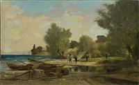 pêcheurs à la tâche yvoire by francois-louis-david bocion