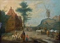 rue de village avec villageois et carriole au pied d'un moulin by jan brueghel the younger