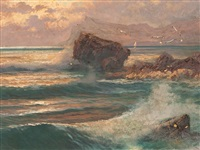 rockbound coast in sunset by franz waldegg