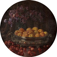 natura morta di frutta e fiori in interno (+ another; 2 works) by filippo vacchetti