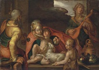 the holy family with the infant saint john the baptist and an angel by joachim anthonisz wtewael