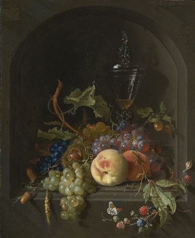 still life of grapes peaches blackberries acorns prickly fruit an elaborate glass and various insects on a ledge in a niche by abraham mignon