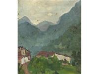 paesaggio montano con case by leonardo dudreville