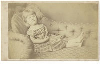 portrait of ethel hatch, as a three year old lying on a couch by lewis (charles lutwidge dodgson) carroll