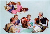 family confrontation at dinner table, young women on bed by frank s. bensing