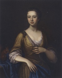 portrait of margaret aldersey in a yellow dress and blue wrap, a squirrel by her side by james fellowes