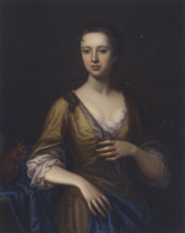 portrait of margaret aldersey in a yellow dress and blue wrap a squirrel by her side by james fellowes
