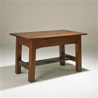 single-drawer library table with integrated writing surface and inkwell by charles limbert