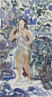 girl bathing in a stream by maurice brazil prendergast