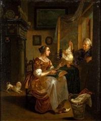 la dentellière et la marchande de volailles by dominicus van tol