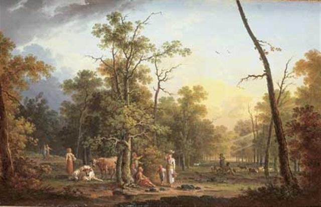 paysage animé au lever du soleil by jean baptiste charles claudot