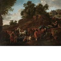 drovers with horses, cattle and goats in a landscape by nicolaes berchem
