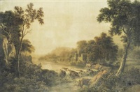 landscape with rapids by john glover