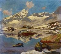 dent blanche und unterer riffelsee oberhalb zermatt by hans beat wieland