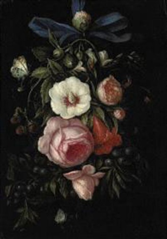 a garland of roses blueberries strawberries and other blooms with caterpillars butterflies and a ladybug by abraham mignon