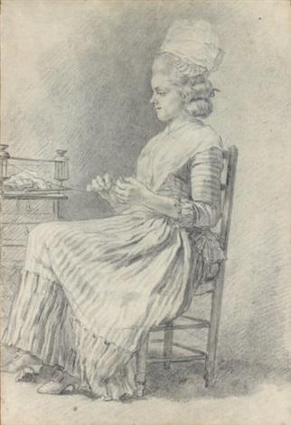 jeune femme assise devant un dévidoir by pierre alexandre wille