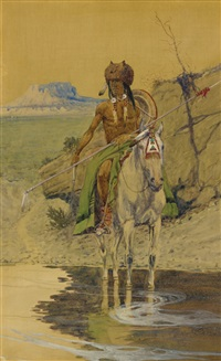 warrior at the watering hole by olaf c. seltzer