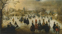 winter landscape with skaters on a frozen river outside a village by adam van breen