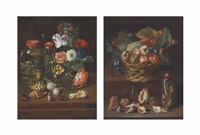 flowers in a glass vase with reptiles in preserve jars and shells on a wooden table; fruit in a wicker basket with a snake (pair) by peter (petrus) snyers