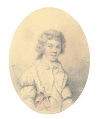 portrait of william mineard bennett, half-length, in a cravat and red sash by charles townley