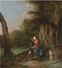 a huntsman courting a milkmaid under a tree in a meadow by gerrit lundens