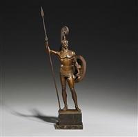 antiker krieger mit schild und lanze, in rüstung mit hohem federhelm by johannes götz