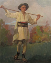 young peasant in landscape by honorius cretulescu