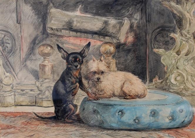 twee hondjes voor de haard by henriette ronner knip