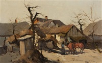 country scene, man with two horses in front of barn by gyorgy nemeth
