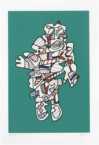 protestator from présences fugaces by jean dubuffet