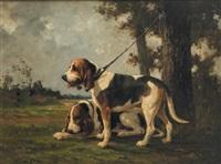 deux chiens de meute by jean victor albert de gesne