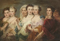 an allegorical scene with the four seasons and other figures by joseph melling