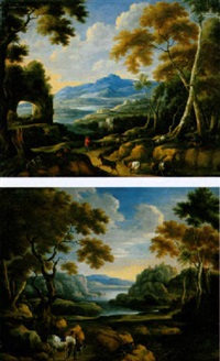 paysage italianisant, avec promeneurs et paysans by philippe van dapels