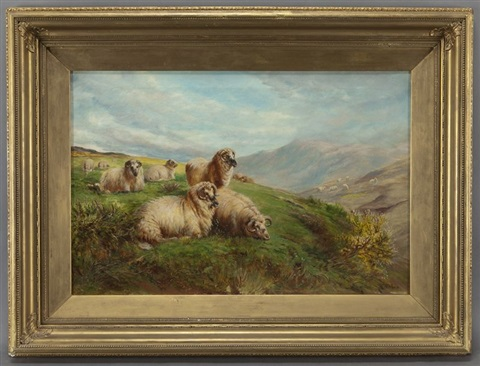 sheep grazing in the highlands by william rc watson