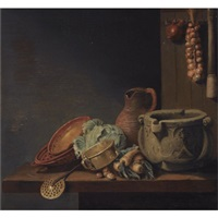 a kitchen still life with a cabbage, onions, parsnips, a jug and other kitchen utensils over a wooden table by hubert van ravesteyn