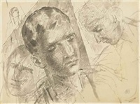 head studies by kuz'ma sergeevich petrov-vodkin