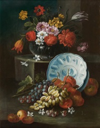 nature morte au bol de porcelaine, fruits et vase de fleurs by michele antonio rapous