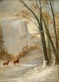 deer in snow by albert bierstadt