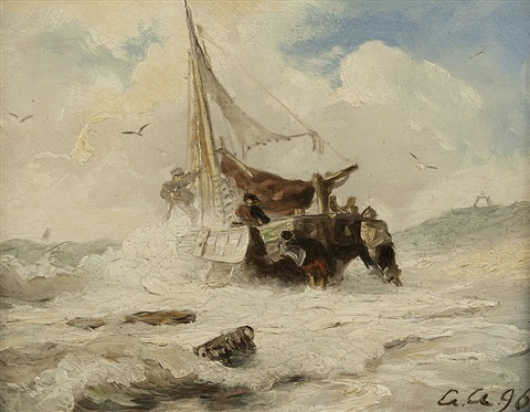 departure in stormy sea by andreas achenbach