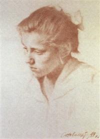 portrait de jeune fille by samouïl nevelshtein