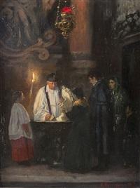 taufe in einer spanischen kirche by arthur kampf
