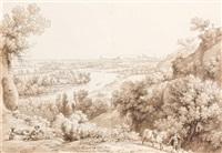vue de toulouse prise des hauteurs de pesch david et etude de paysage (recto-verso) by louis françois lejeune