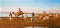 famille de fellahs devant les pyramides by frederick goodall