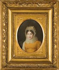 portrait de gertrude bonaparte, tante et marraine de l'empereur napoléon ier, en buste de face, portant un bonnet en dentelle et vêtue d'une robe orange by jean antoine laurent