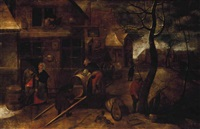 figures drawing wine from a barrel outside the swan inn by pieter brueghel the younger